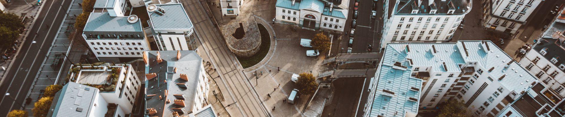 Vue aérienne d'un quartier de Nantes